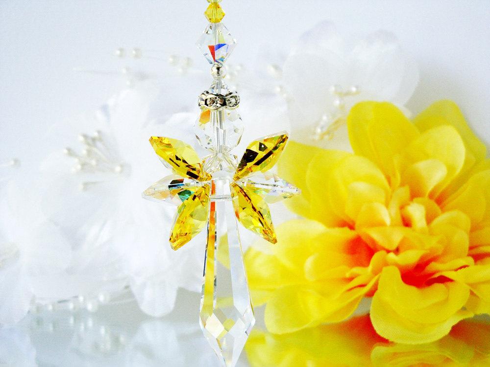 Crystal Suncatcher Yellow Guardian Angel Window Sun