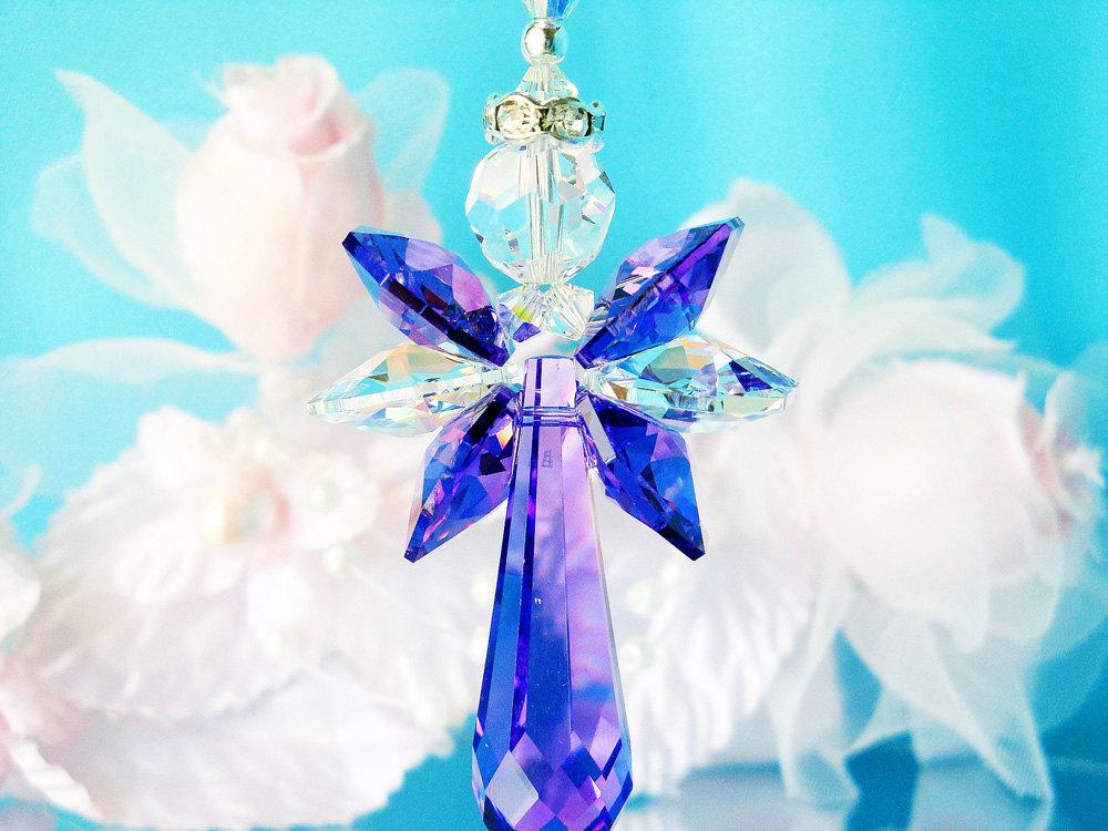 Purple Angel Car Charm Crystal Blue Designs