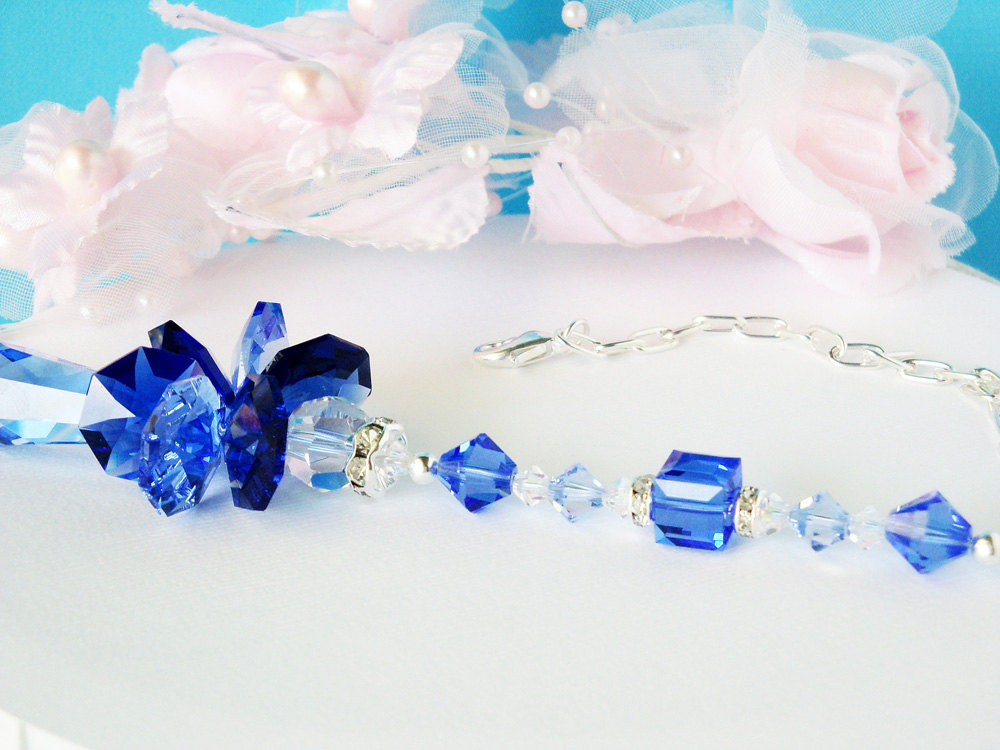 Guardian Angel Rear View Mirror Charm Crystal Blue Designs