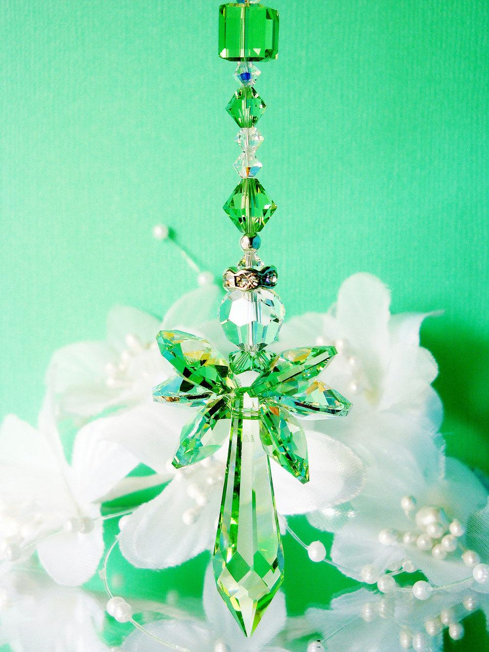 Green Guardian Angel Car Mirror Charm Crystal Blue Designs