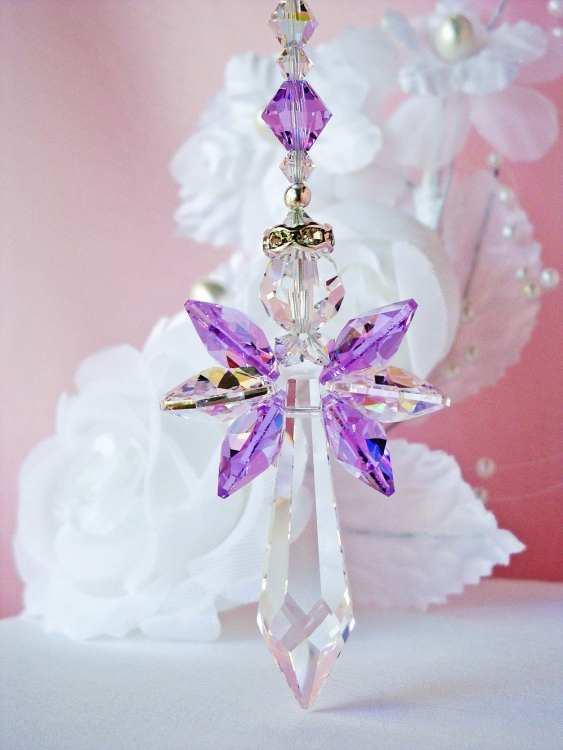 crystal guardian angel rear view mirror charm