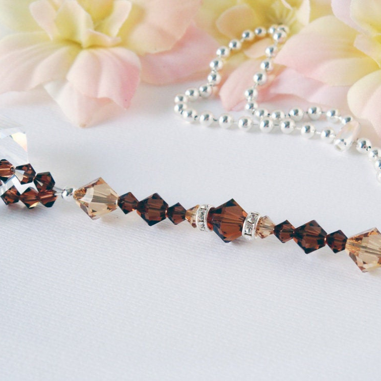 brown crystal fan pull chain