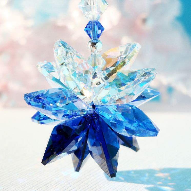 Crystal Suncatcher Rear View Mirror Charm Blue Car
