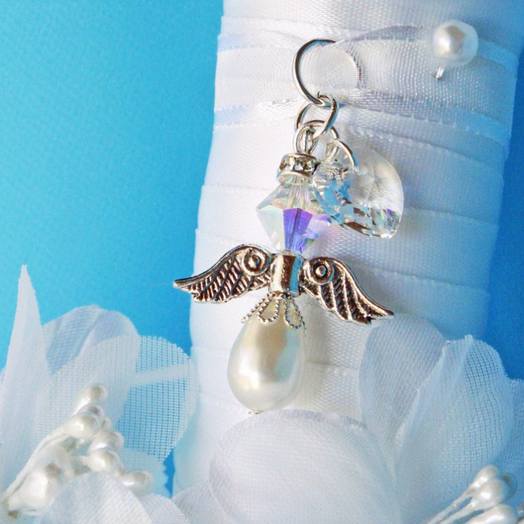 white angel wedding bouquet charm