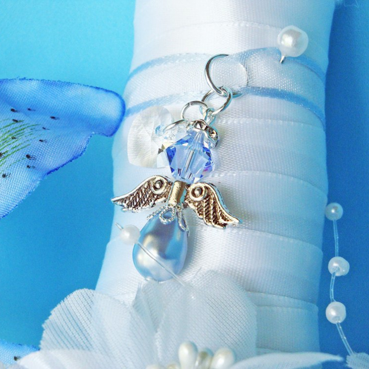 something blue angel wedding bouquet charm