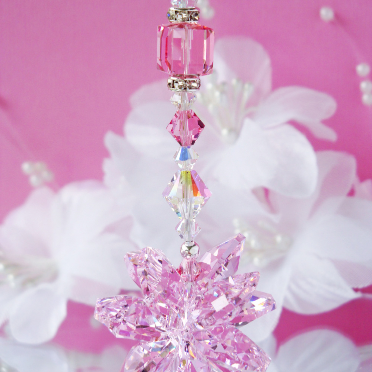 pink crystal rear view mirror charm