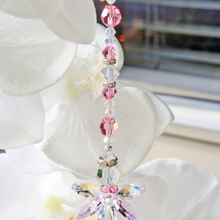 Pink Guardian Angel Rear View Mirror Charm Crystal Blue