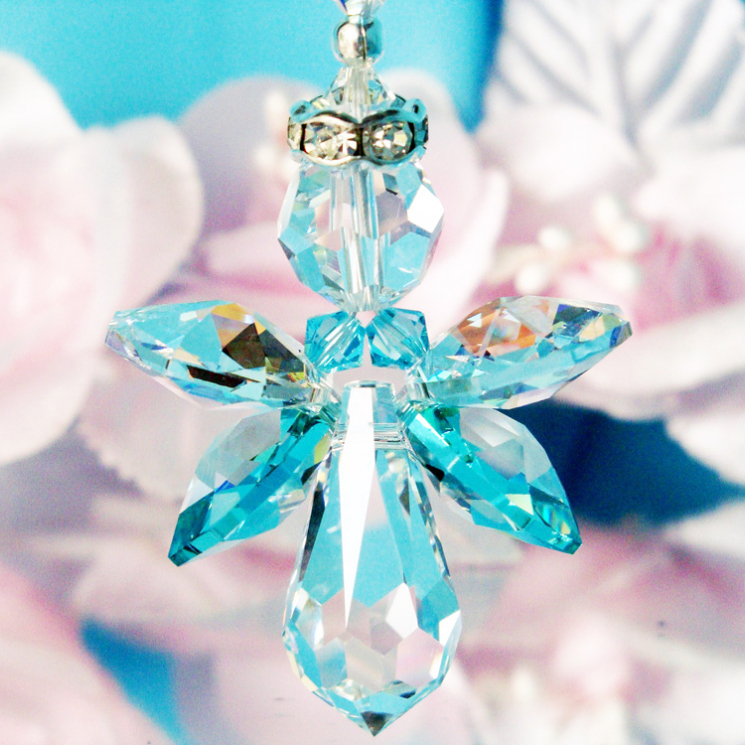 Guardian Angel Car Charm Turquoise Blue Rear View Mirror
