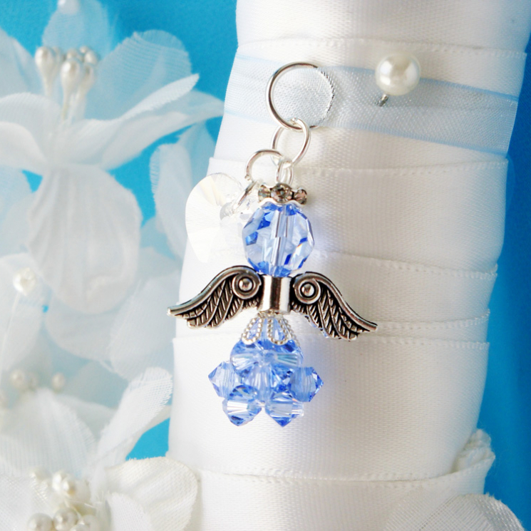 something blue wedding bouquet charm