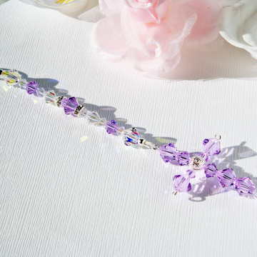 Purple crystal cross car charm