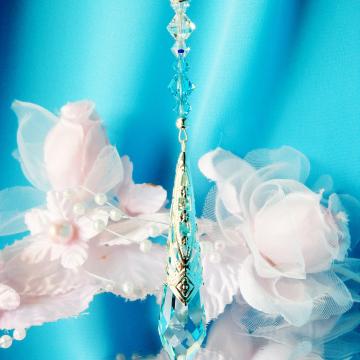 turquoise blue crystal car charm