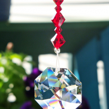 red crystal rear view mirror charm