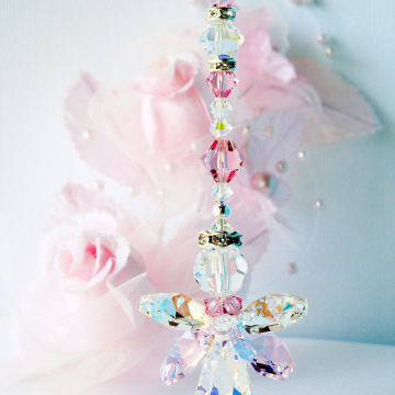 crystal angel car charm