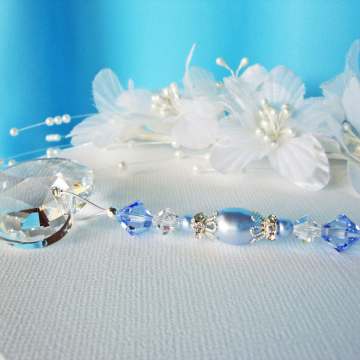 blue swarovski crystal and pearl fan pull chain