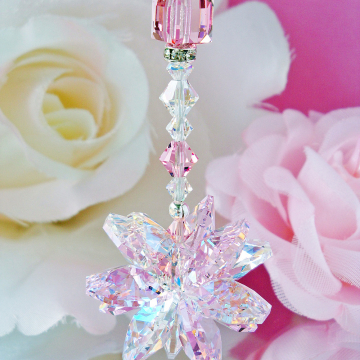 pink crystal car charm