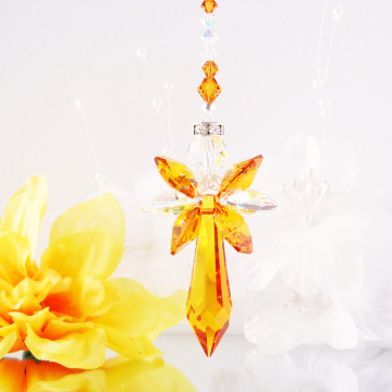 topaz crystal angel car charm