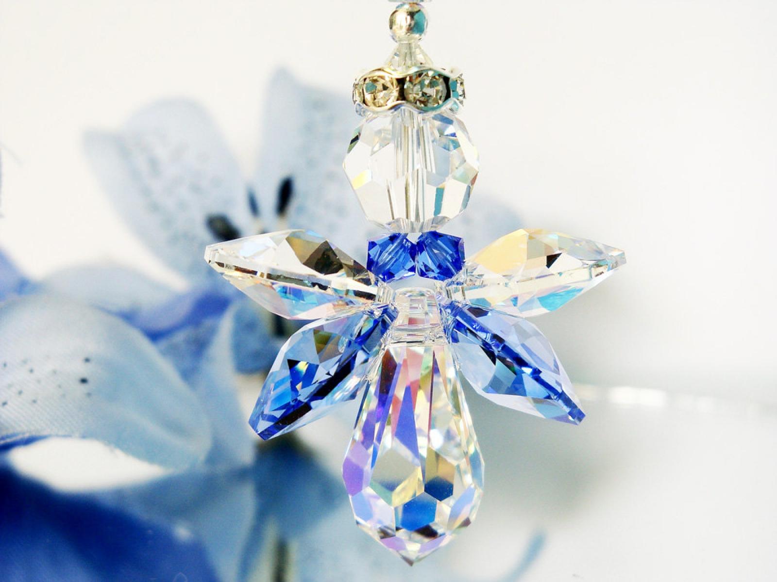 Crystal Angel Suncatcher Blue Nursery Decor Crystal Blue