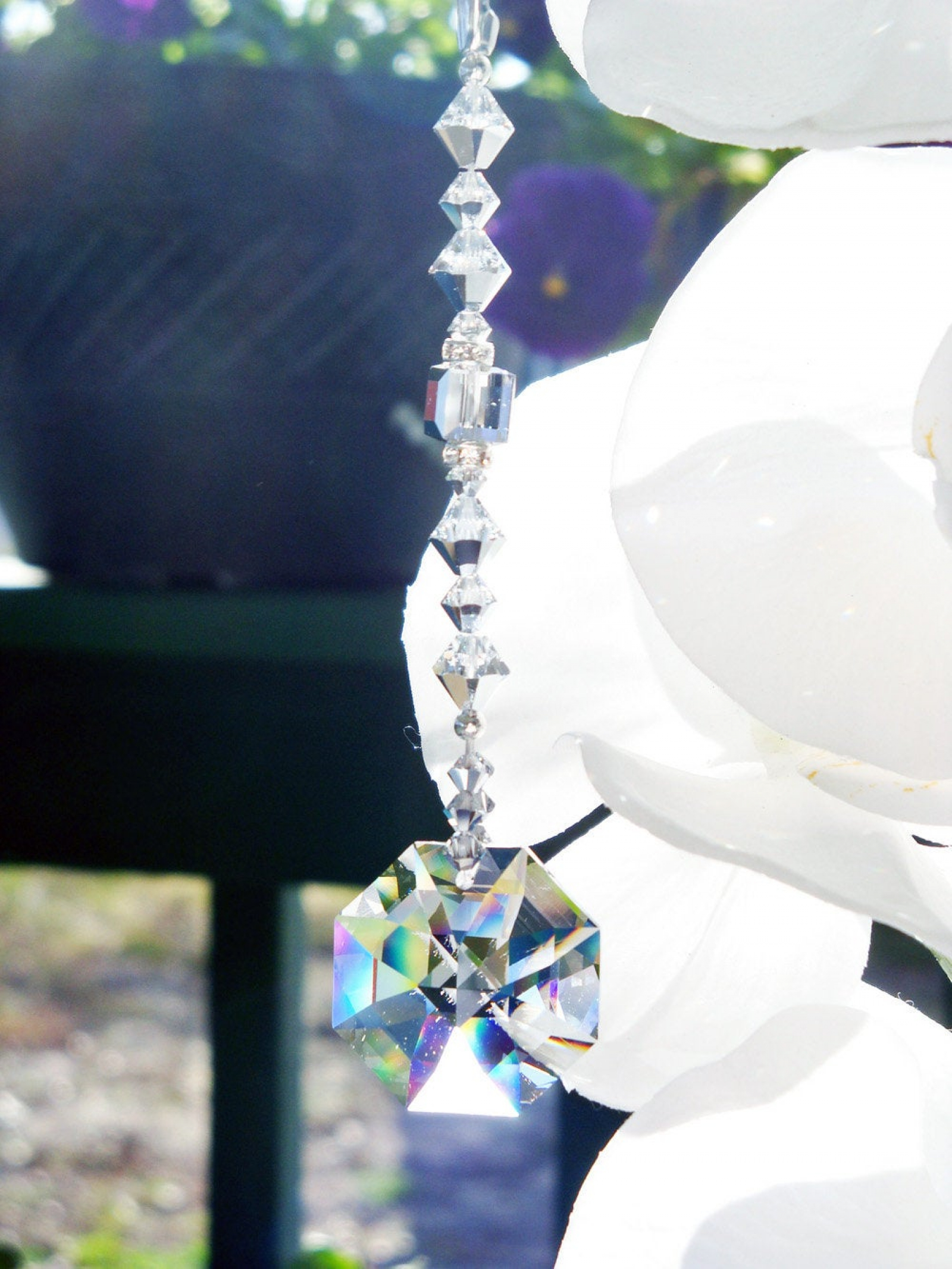 Silver Ceiling Fan Pull Chain Swarovski Crystal Light