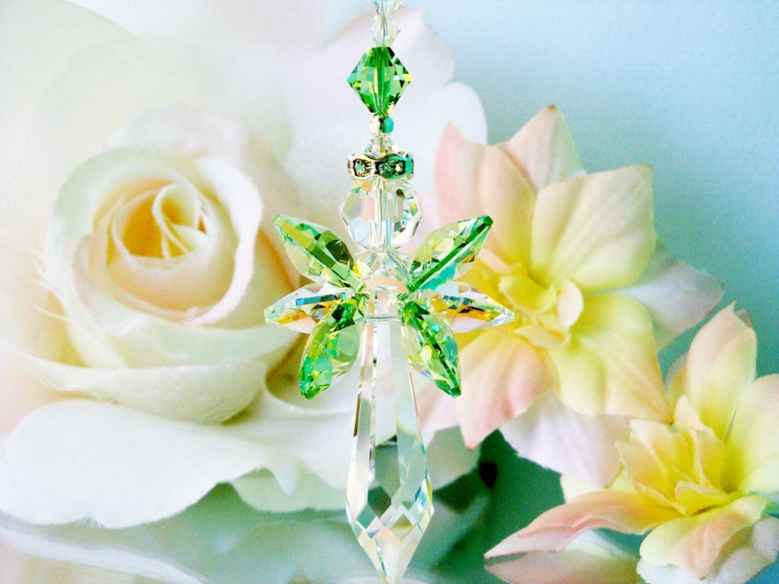 Crystal Suncatcher Green Guardian Angel Sun Catcher