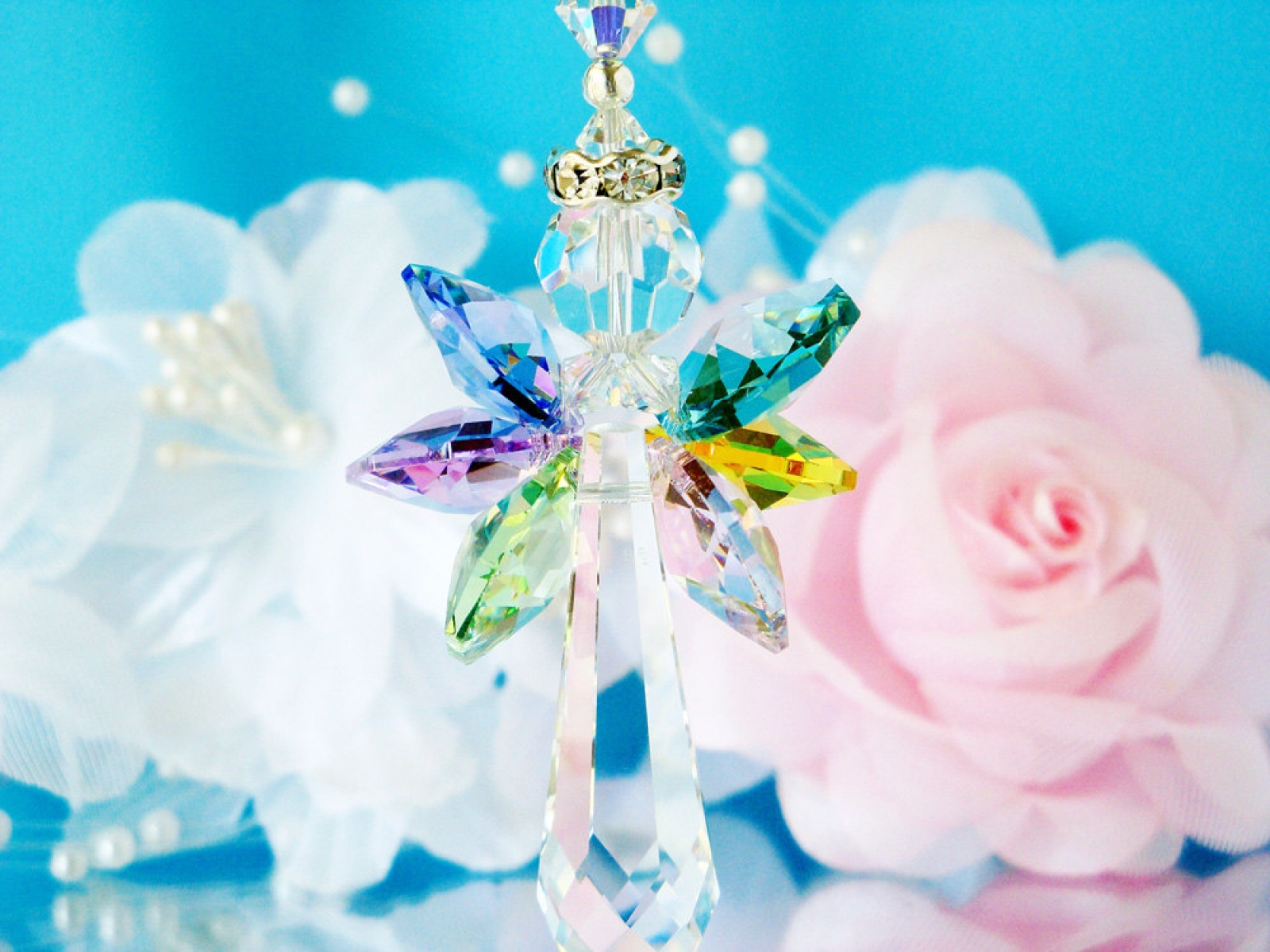 Swarovski Crystal Guardian Angel Suncatcher Crystal Blue