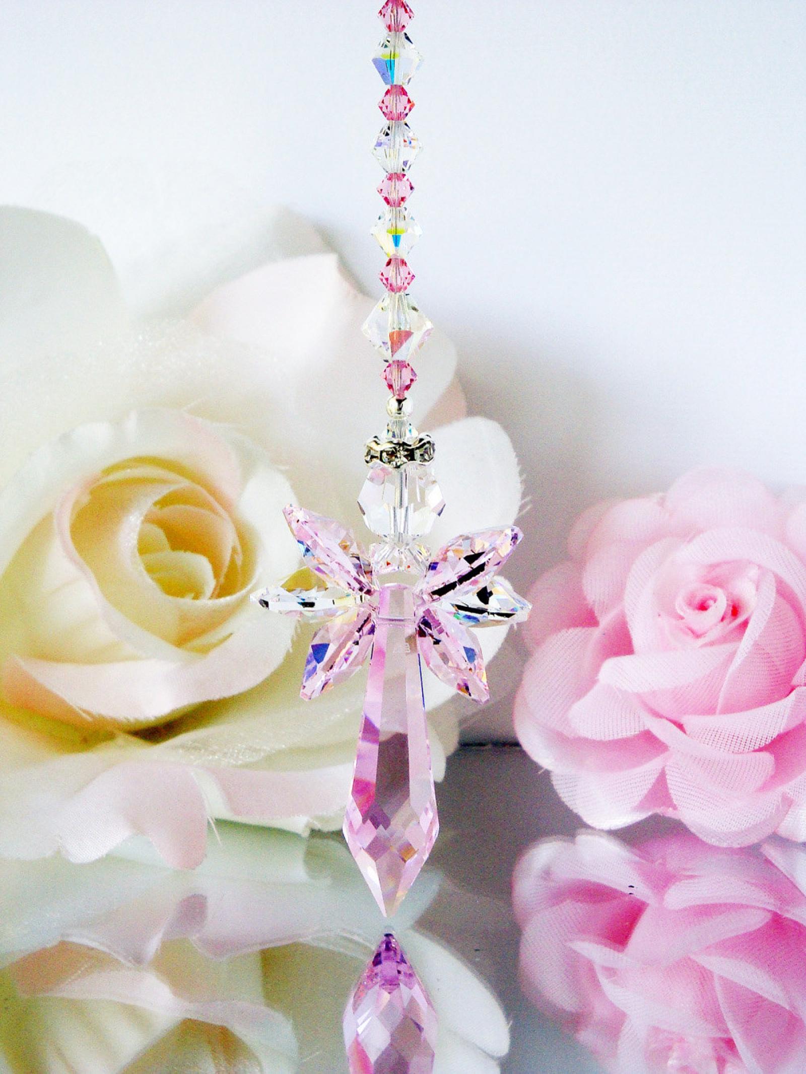 Crystal Angel Suncatcher Pink Little Girls Room Nursery