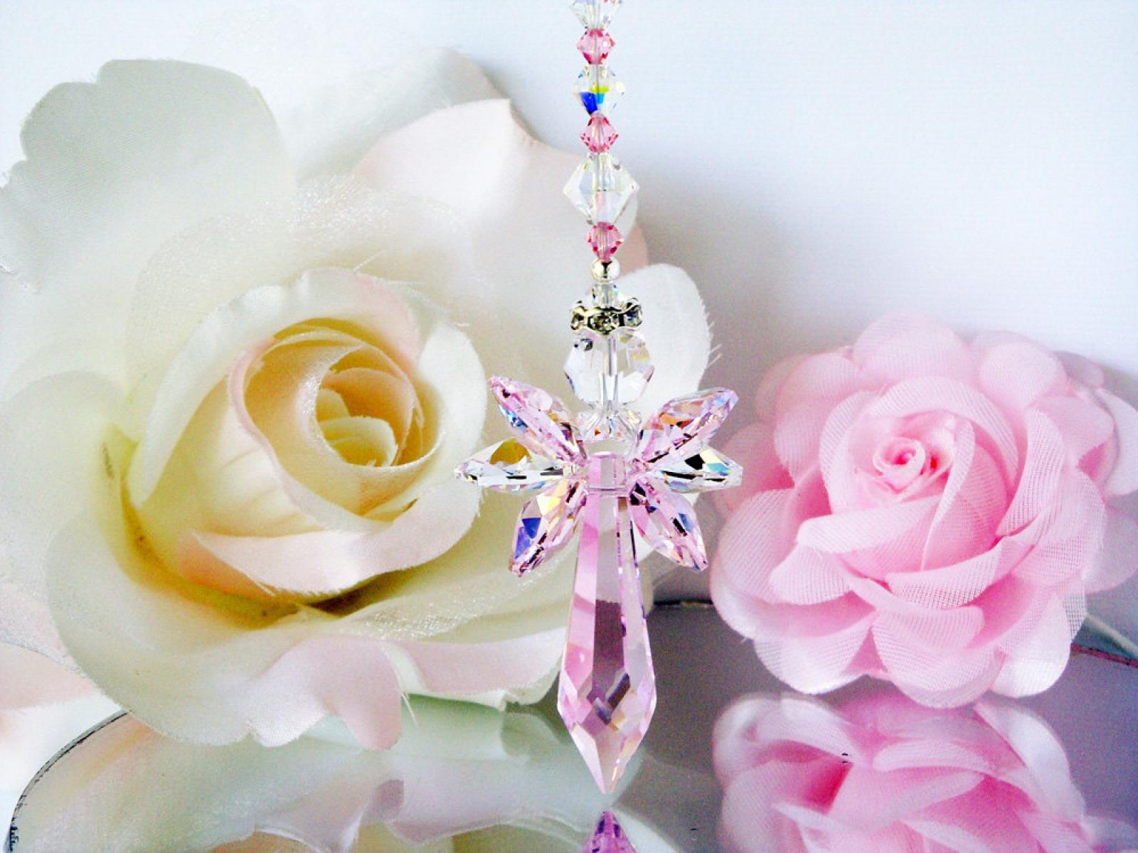 Pink Angel Suncatcher Crystal Blue Designs