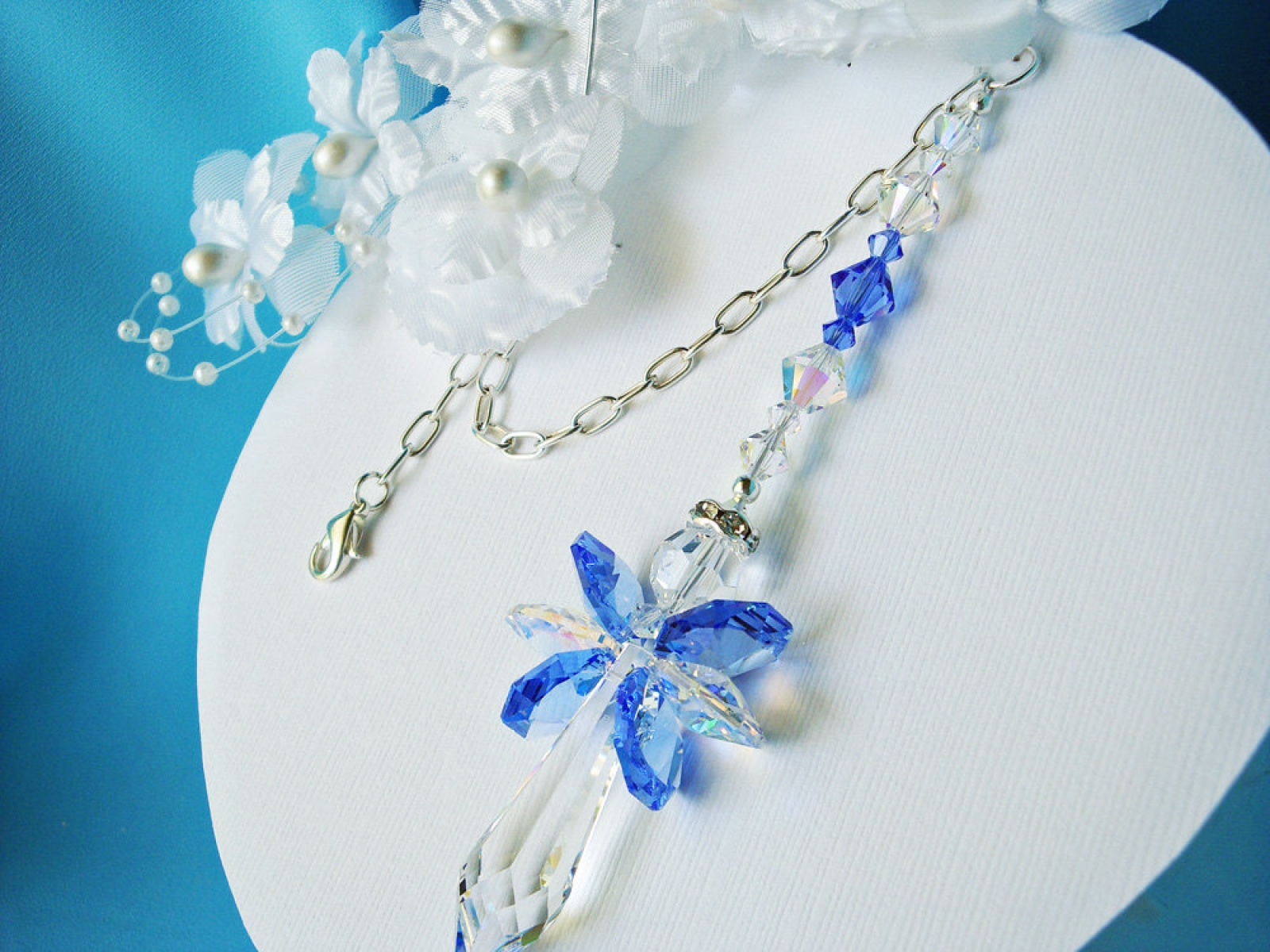 Guardian Angel Car Charm Blue Swarovski Crystal Car Mirror