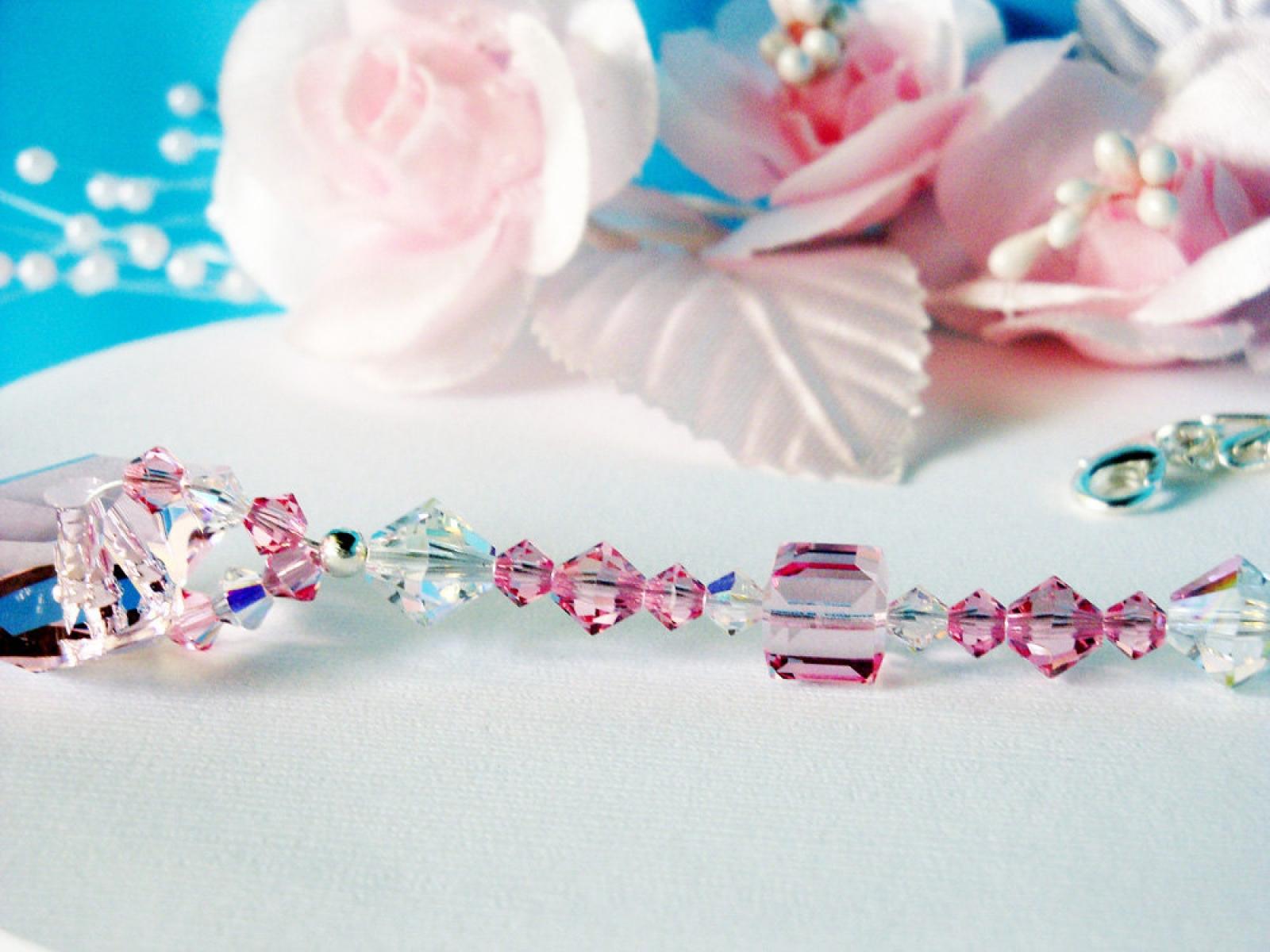 Pink Rear View Mirror Charm Crystal Blue Designs