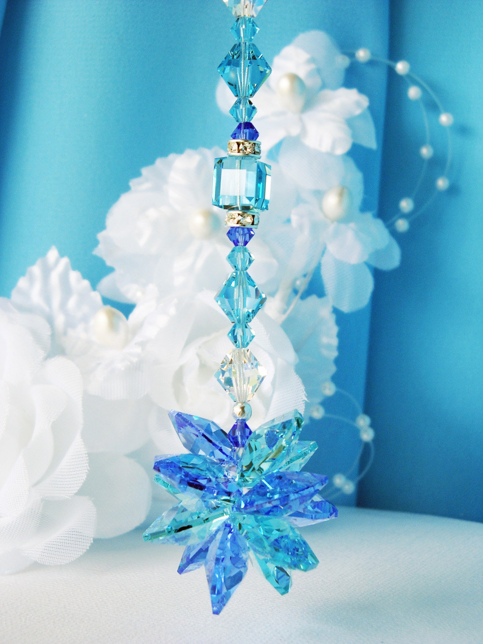 Blue Rear View Mirror Charm Swarovski Crystal Suncatcher