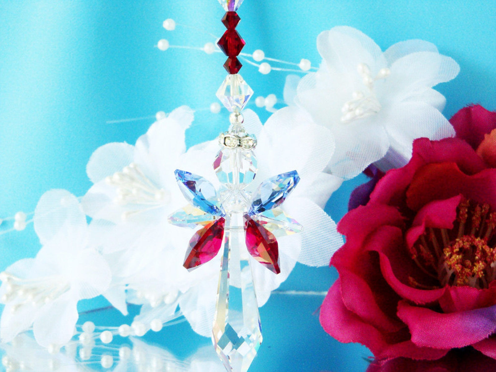Guardian Angel Sun Catcher Swarovski Crystal Red White