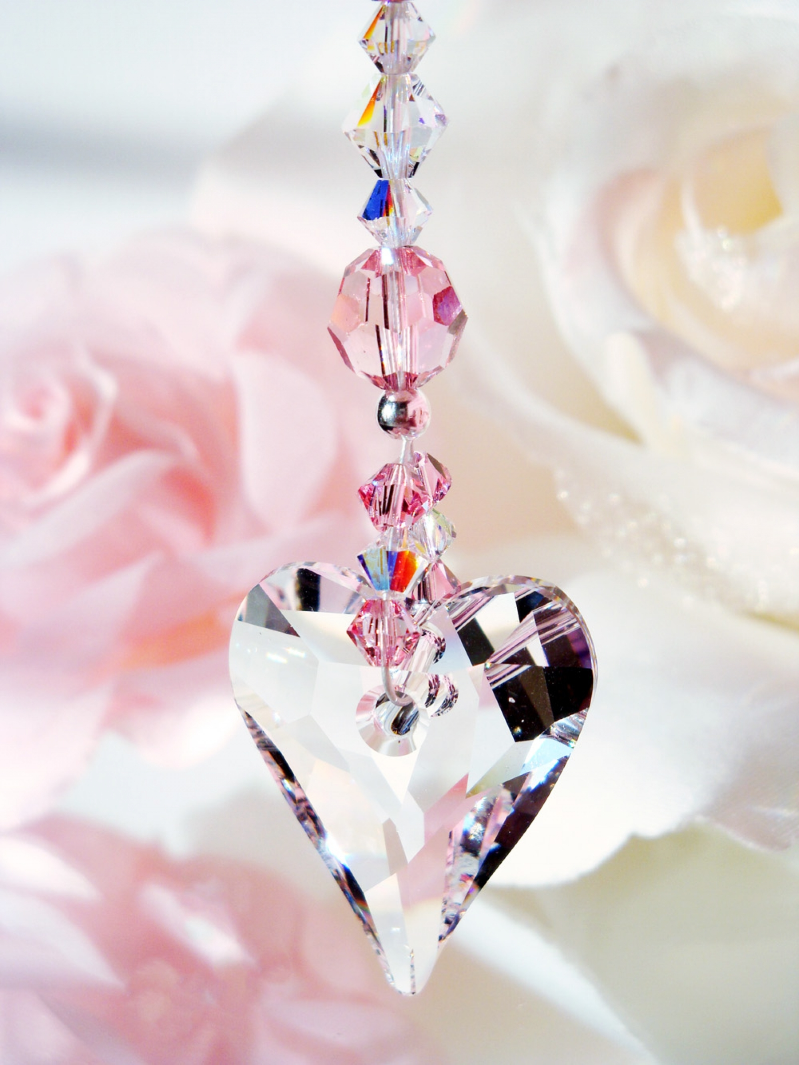 Crystal Suncatcher Car Charm Pink Car Accessories Crystal Blue