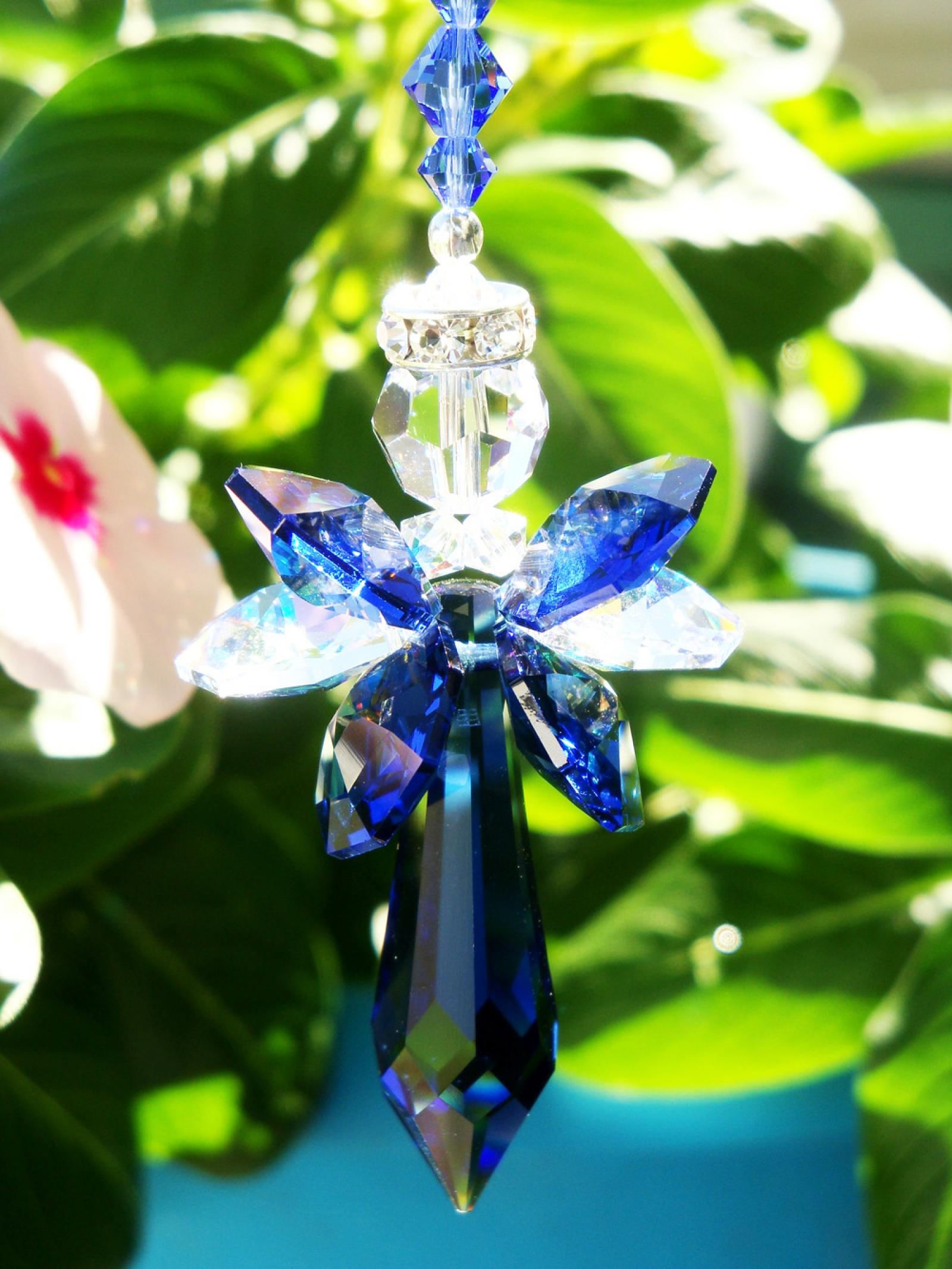 Angel Rear View Mirror Charm Blue Swarovski Crystal Angel
