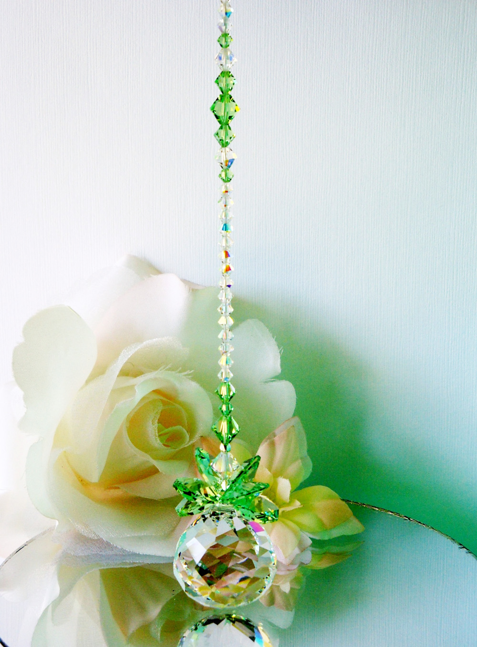 Crystal Suncatcher Green Feng Shui Decor Swarovski Crystal