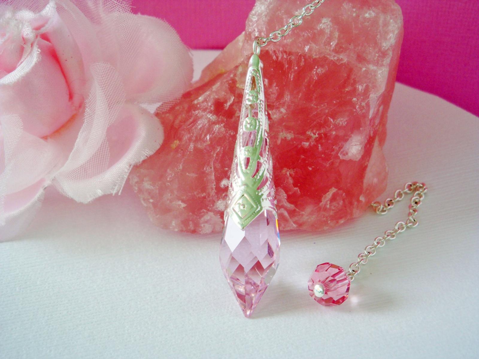 crystal pendulum pink magic wand swarovski single point crystal