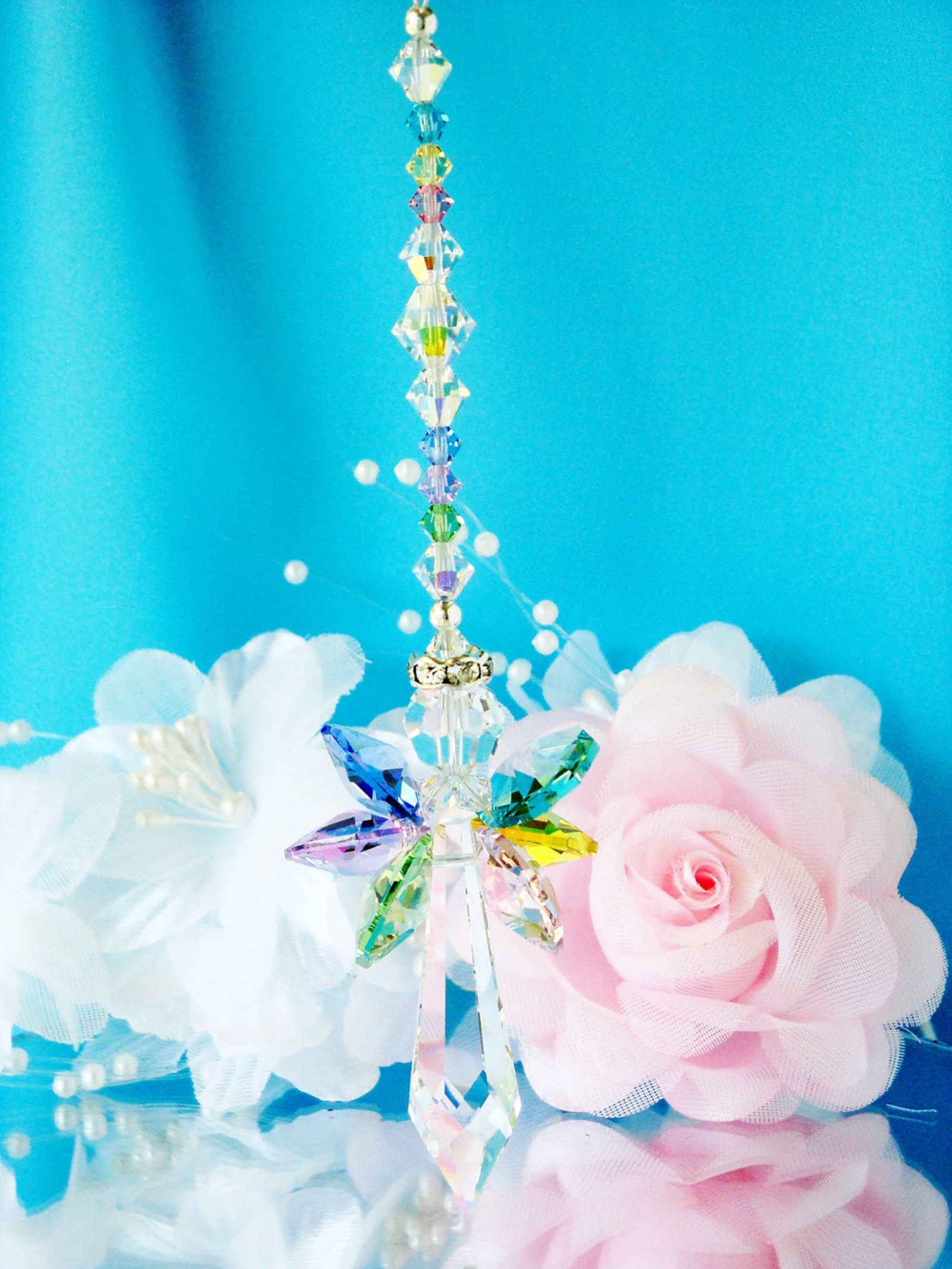 Swarovski Crystal Guardian Angel Suncatcher Crystal Blue