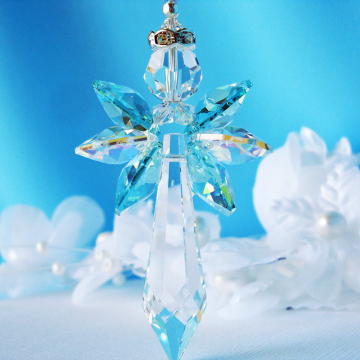 Crystal Angel Car Charm Turquoise Blue Rear View Mirror Hanger