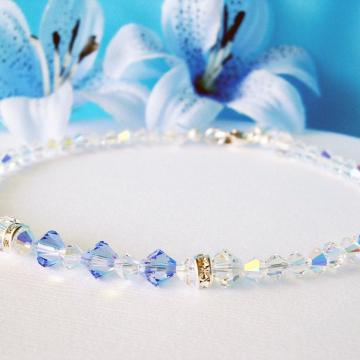 Something Blue Wedding Jewelry, Lt. Sapphire Blue Swarovski Crystal Ankle Bracelet, Something Blue for Bride