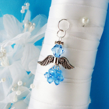Something Blue for Bride, Wedding Bouquet Charm, Swarovski Crystal Angel Bouquet Charm, Aquamarine Blue