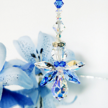 Crystal Angel Suncatcher, Blue Nursery Decor, Window Sun Catcher
