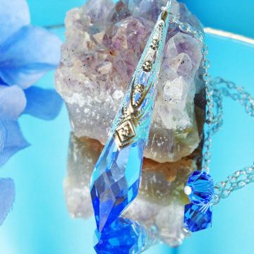 Blue Crystal Pendulum Dowsing Pendulum Single Point Crystal