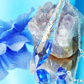 Blue Crystal Pendulum, Dowsing Pendulum, Single Point Crystal, Divining Pendulum
