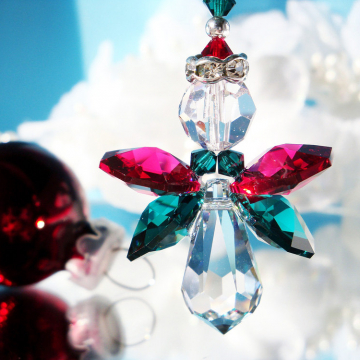 Crystal Angel Christmas Ornament, Swarovski Crystal Red and Green Angel Car Charm, Christmas Gift