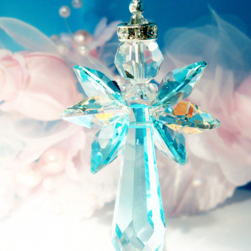 Crystal Angel Suncatcher Rear View Mirror Charm Blue Car Accessories