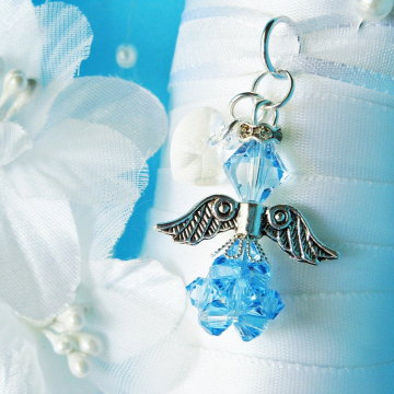 Something Blue Angel Bouquet Charm, Aqua Blue Swarovski Crystal Wedding Bouquet Charm, Something Blue for Bride