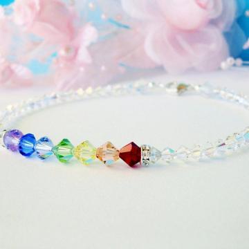 Swarovski Crystal Ankle Bracelet, Chakra Rainbow Crystal Anklet