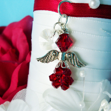Christmas Wedding Bouquet Charm, Red Swarovski Crystal Angel Bridal Bouquet Charm, Bridal Bouquet Accessories