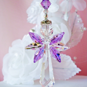 Guardian Angel Rear View Mirror Charm, Swarovski Crystal Purple Car Accessories, Rearview Mirror Charm