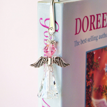 Crystal Angel Bookmark, Pink Swarovski Crystal Book Mark, Bookmarker