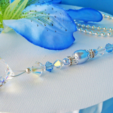 Blue Ceiling Fan Pull Chain, Swarovski Crystal Light Pulls, Nursery Decor, Baby Shower Gift