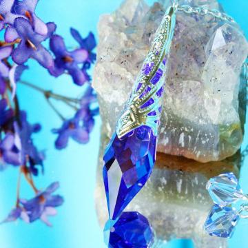 Crystal Pendulum, Single Point Crystal Dowsing Pendulum, Divining Pendulum, Swarovski Crystals